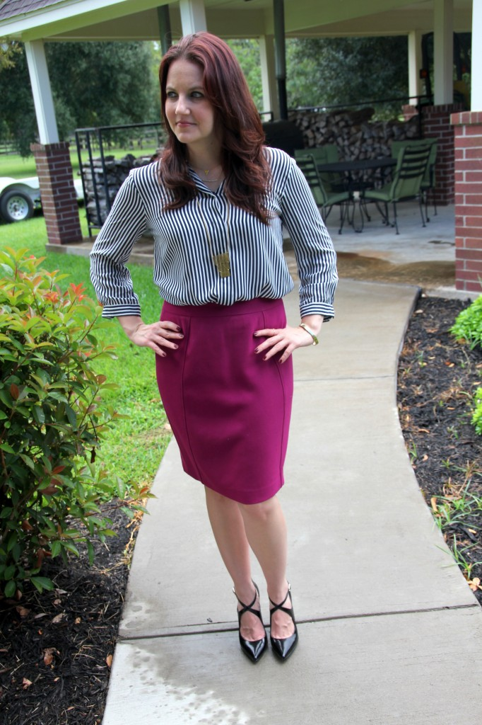 Striped Blouse and Magenta Pencil Skirt / Lady in Violet Blog