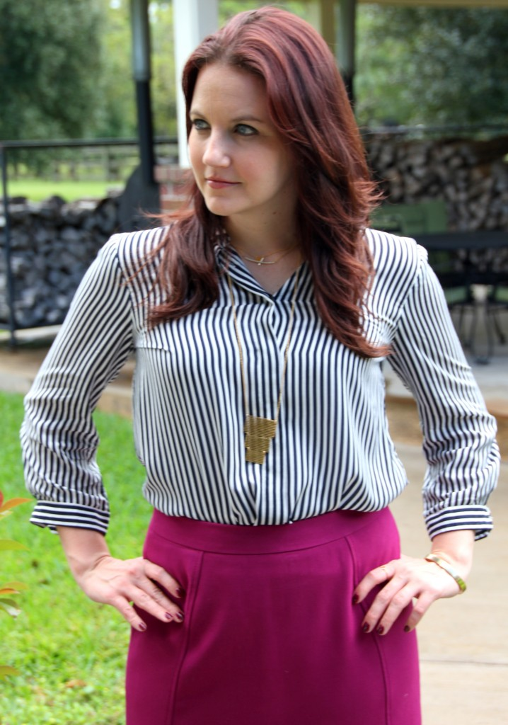 Striped Blouse and Gold Jewelry / Lady in Violet Blog
