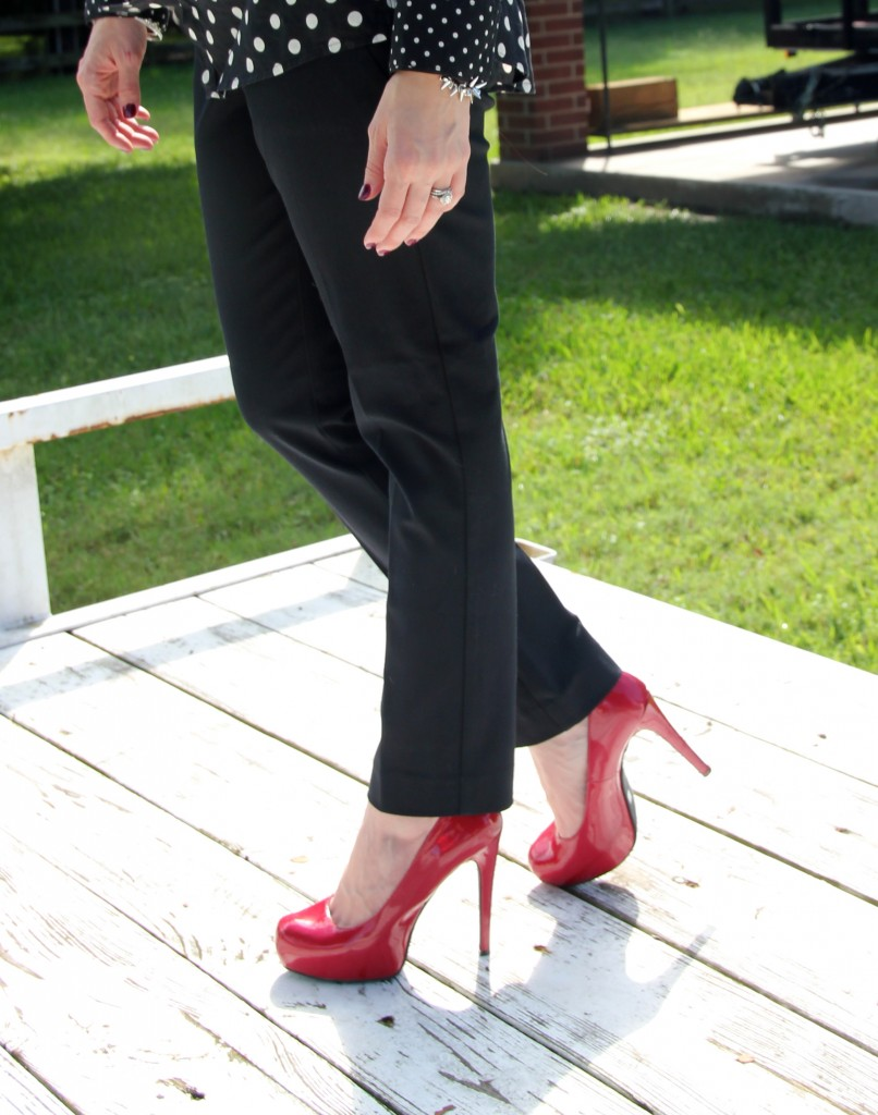 Red Pumps with Skinny Work Pants