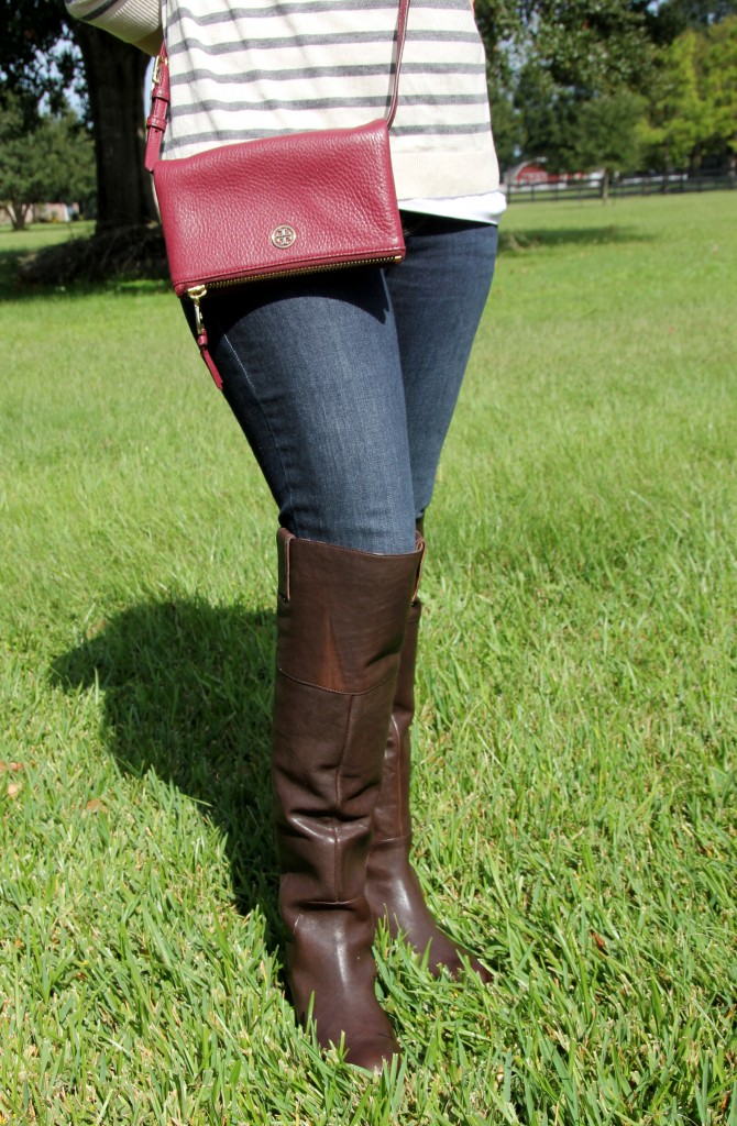 Riding Boots and Tory Burch Cross Body Bag
