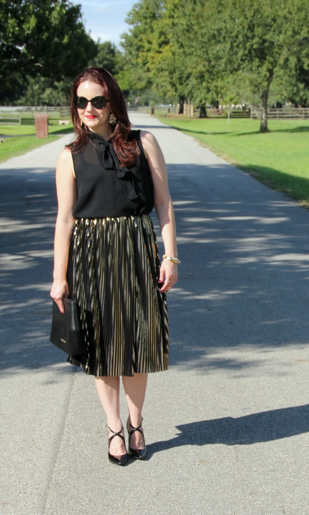Party Look Gold Midi Skirt with Black Top