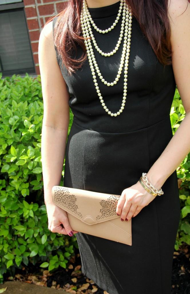 Loft Black Dress and Pearls