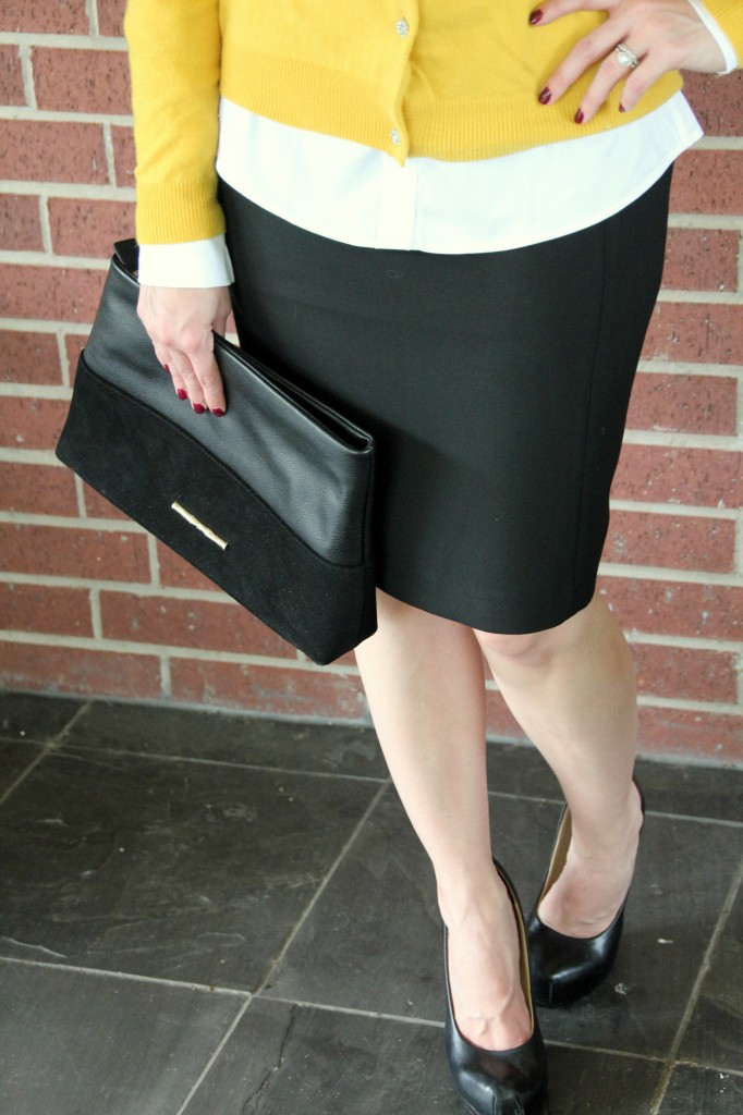 Black Pencil Skirt and Elaine Turner black clutch