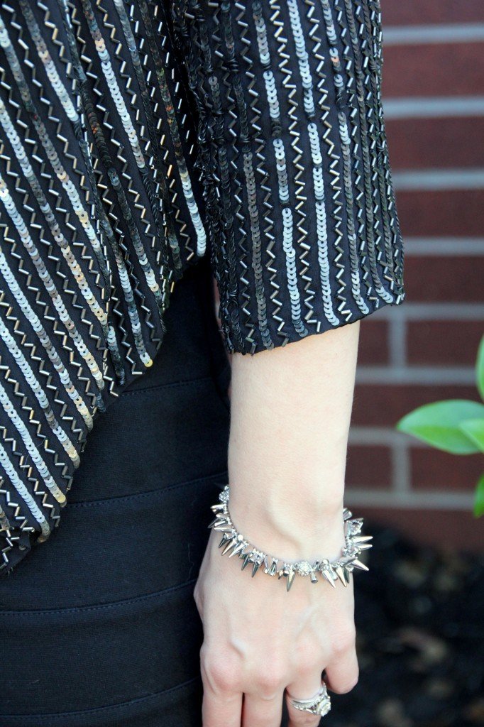 Embellished Jacket Details, stella and dot renegade bracelet