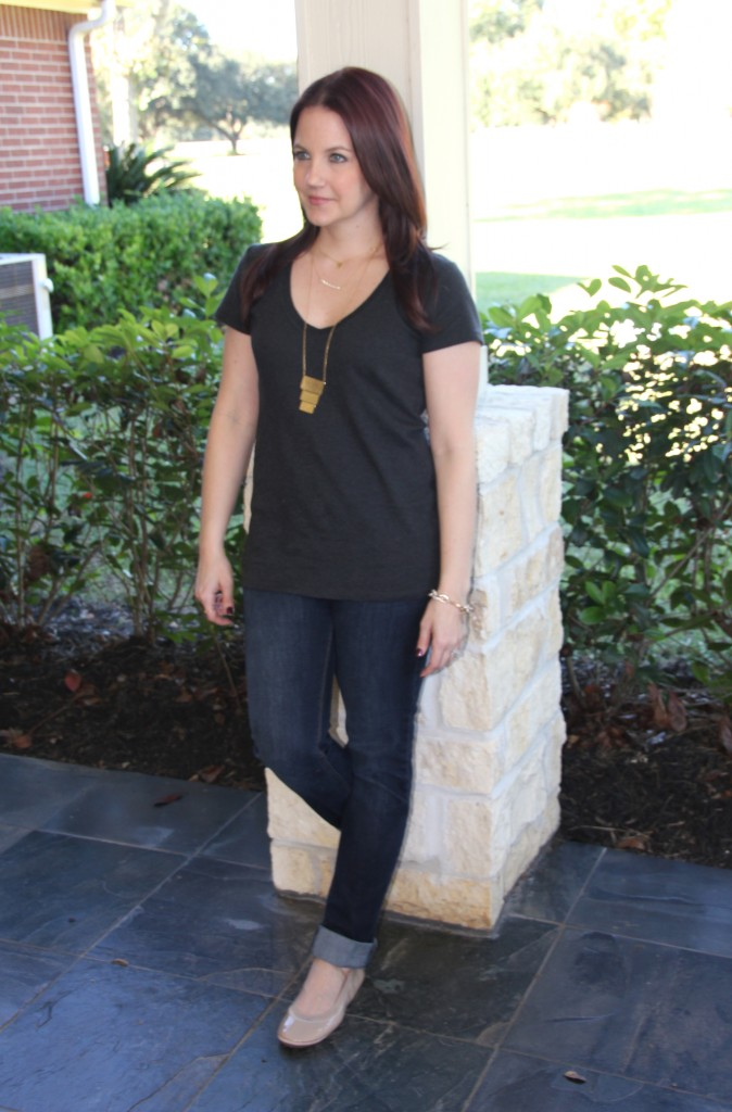 V Neck Tee and Skinny jeans with Flats