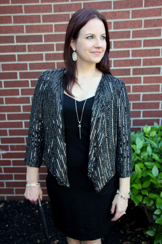 Girl's Night Out Look, little black dress with embellished jacket