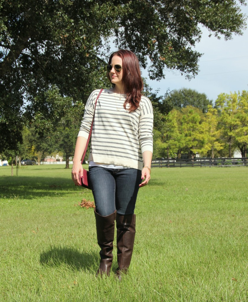 Fall Style Riding Boots and Striped Sweater