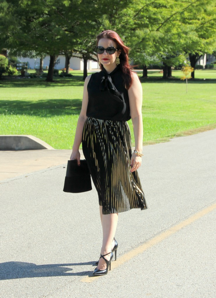 Holiday Party Style Gold Midi Skirt with Black Top