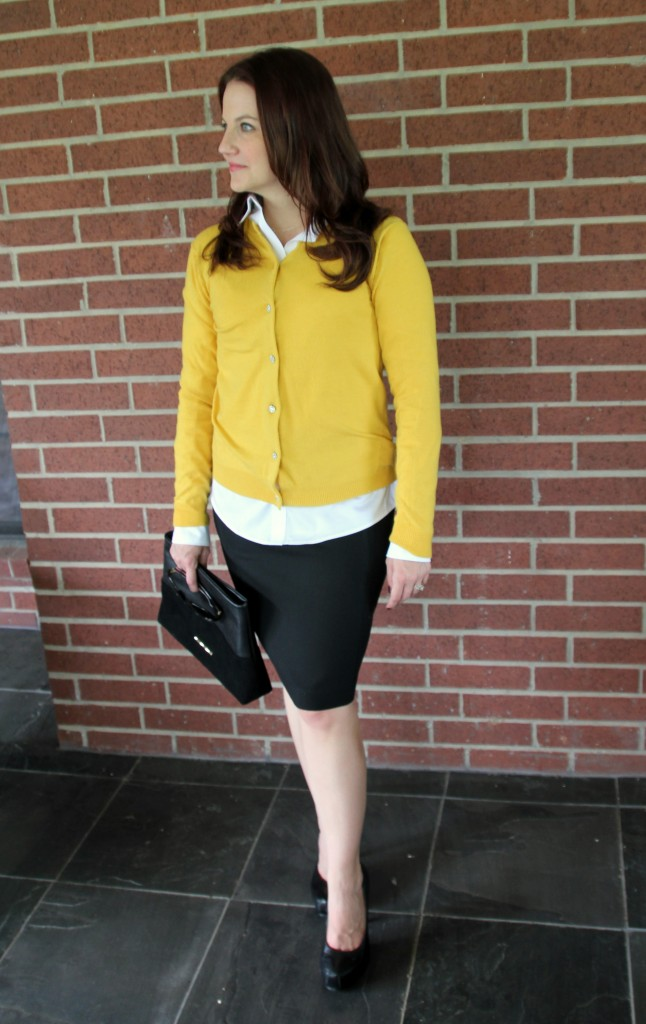 Cardigan Sweater with Black Pencil skirt and black clutch, work style look