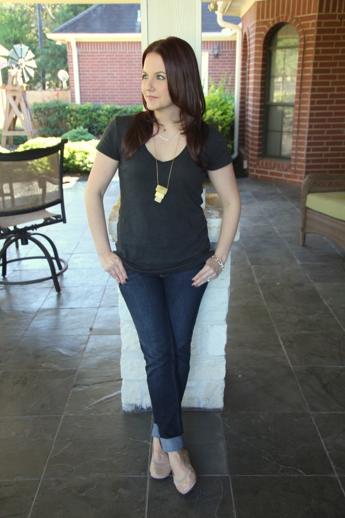 V-Neck Tshirt with Skinny Jeans and Flats