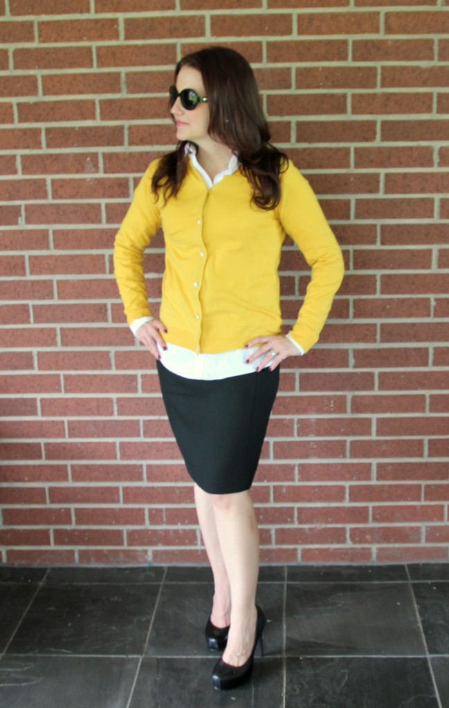 Yellow Cardigan with Black Pencil Skirt
