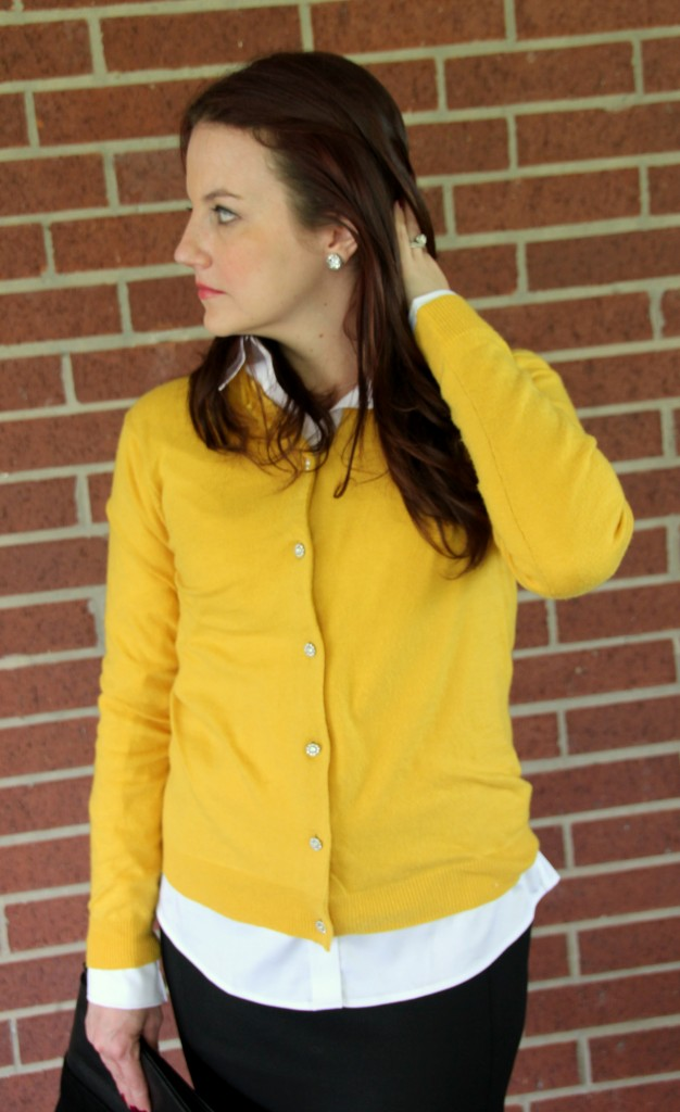 Yellow Cardigan Sweater with Sparkle Buttons