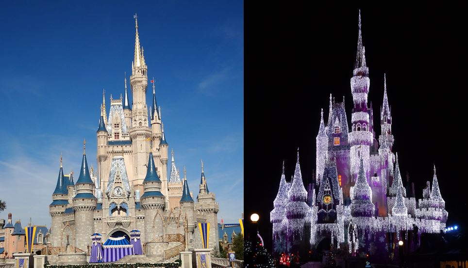 Walt Disney World Magic Kingdom Castle day and night