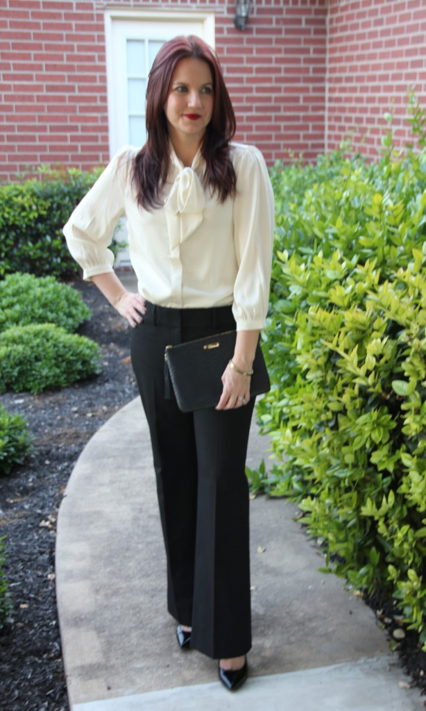 Work Style Look, Tie Neck Blouse and Black Pants