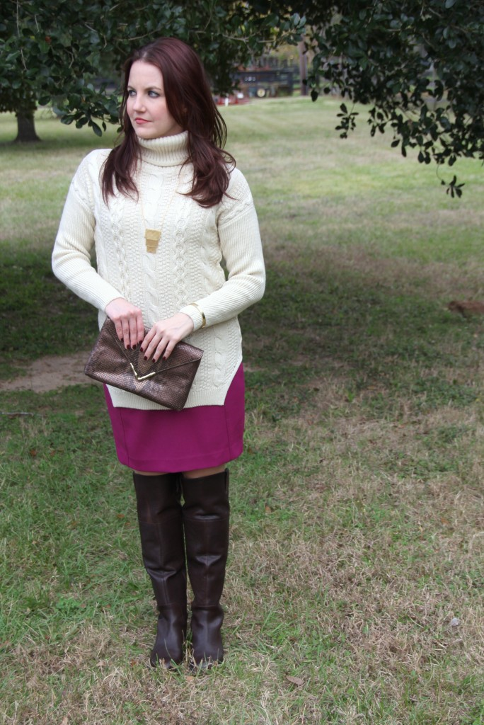 bfb3fcff084 Remix of a summer pencil skirt with oversized sweater and over the knee  boots