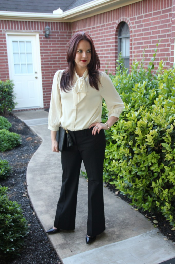 Work Style Office look, Tie Neck Blouse and Black Pants