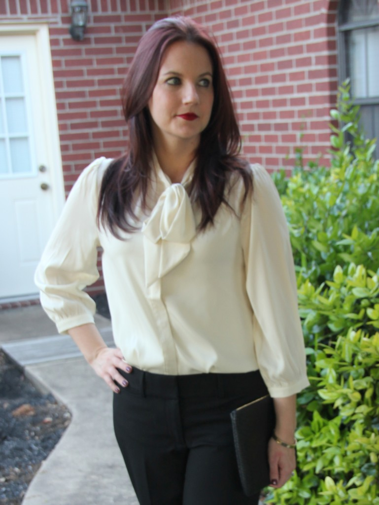 Work Style Look, Modcloth Tie Neck Bow Blouse
