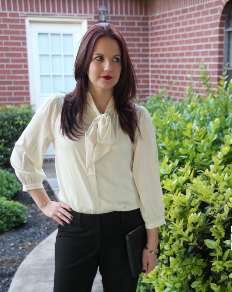 Cream Tie neck Bow blouse and Black trousers