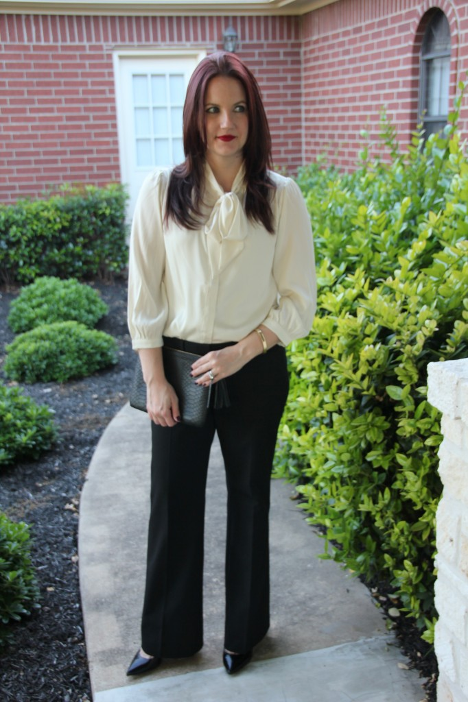Work Style Office Look, Tie Neck bow blouse with black dress pants