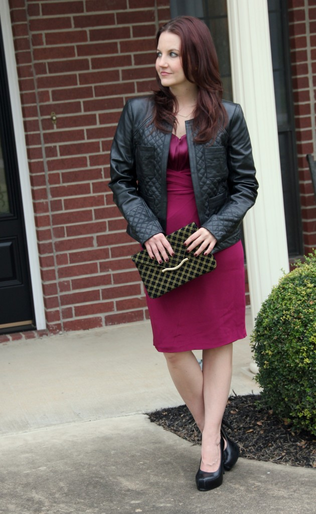 NYE Formal Party Outfit - Jay Godfrey Bailey Dress with Elaine Turner Clutch and Halogen Leather Jacket