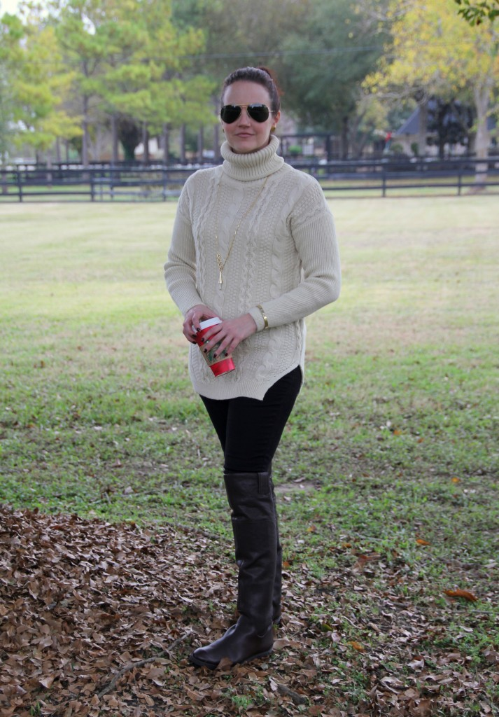 Comfy, Casual, Cozy turtleneck cable knit sweater over skinny jeans and riding boots, winter style outfit idea