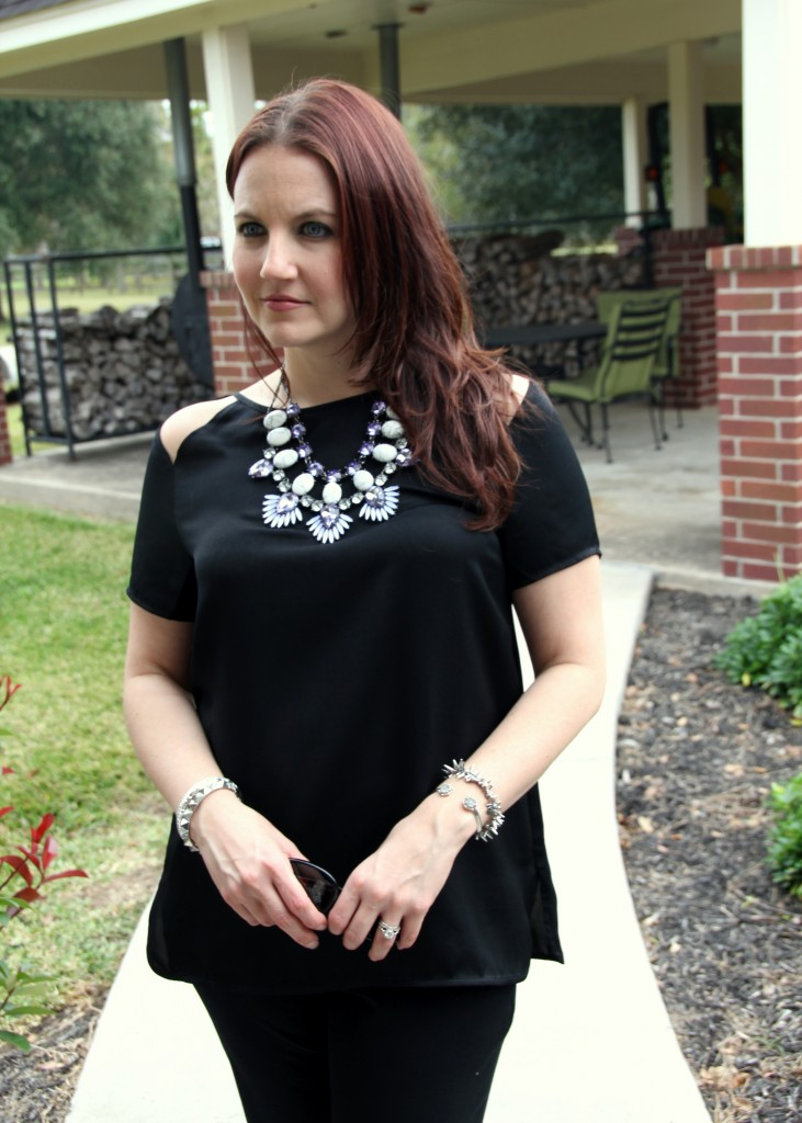 Statement Necklace paired with an all black outfit, BB Dakota cutout top