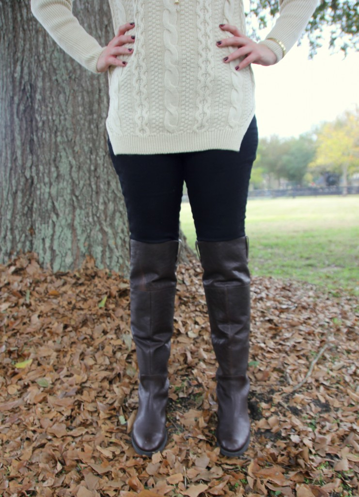 Enzo Angiolini Over the Knee ridingn boots with skinny jeans and sweater, winter style idea