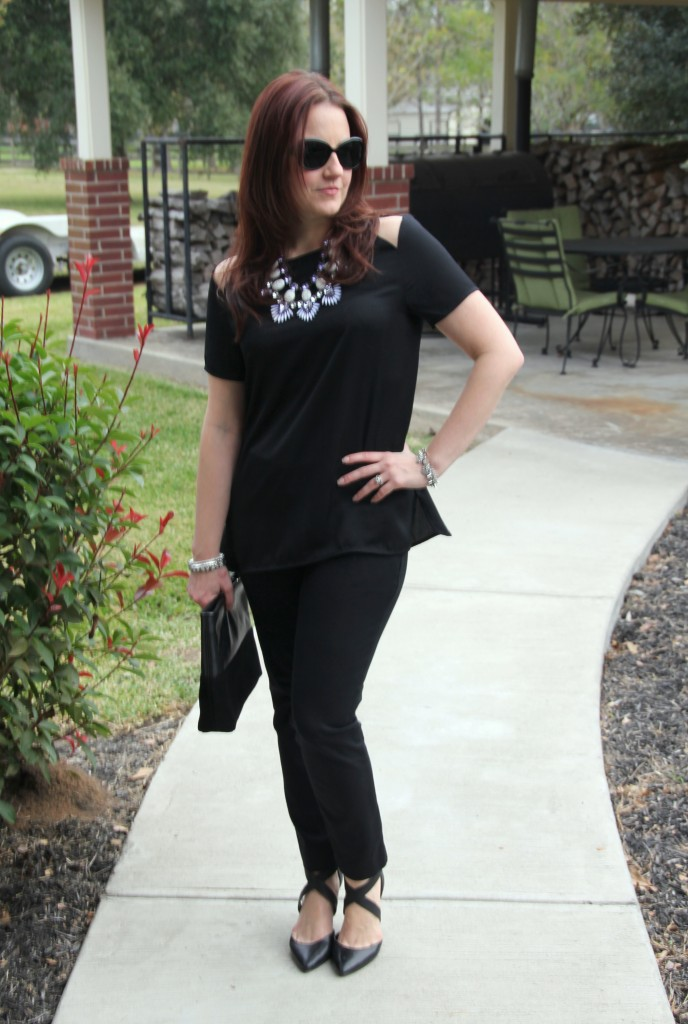 Statement Necklace paired with an all black outfit