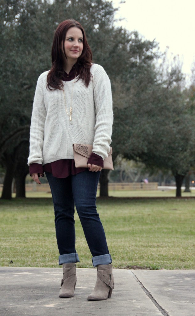 Weekend Casual Layered Outfit, high low sweater over button down top with skinny jeans and booties