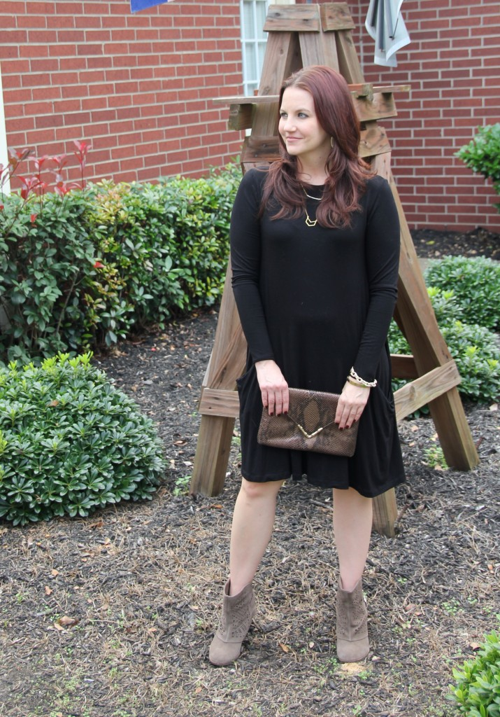 Transitional Style - Office to Airport, Asos Swing dress with Naughty Monkey booties and elaine turner clutch