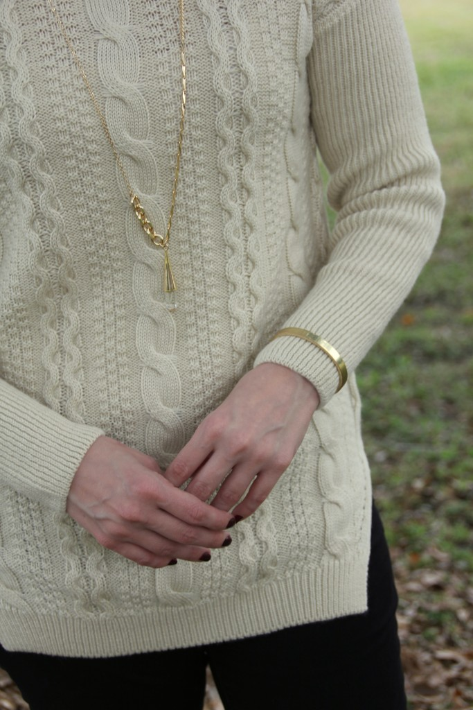 Goodnight Macaroon sweater with baublebar gold jewelry