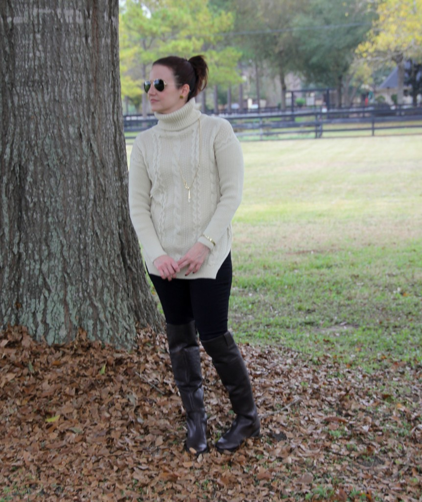 Comfy, Casual, Cozy Turtleneck cable knit sweater with skinny jeans and otk boots, winter style outfit idea