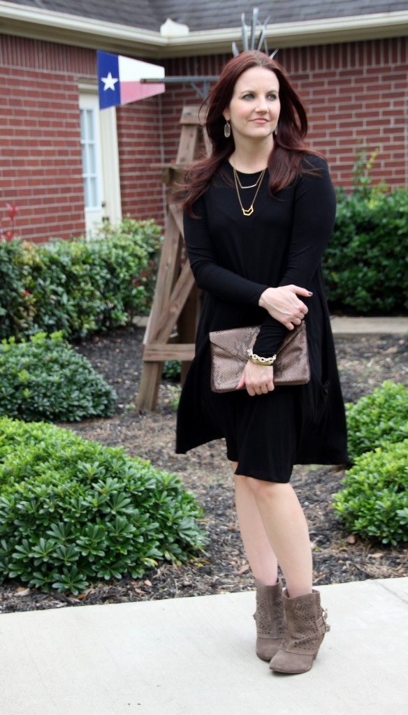Office to airport style, swing dress with slip on booties