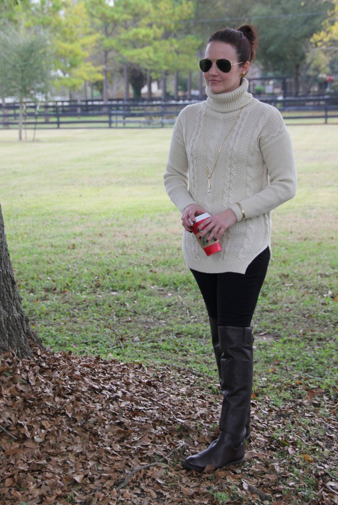 Comfy, Casual, Cozy Goodnight Macaroon Turtleneck Sweater with Lucky Brand Skinny Jeans and Enzo over the knee riding boots
