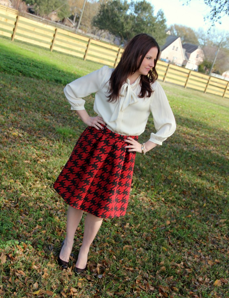 Office Outfit Idea - Bow Top blouse and Houndstooth a-line skirt, perfect for work!
