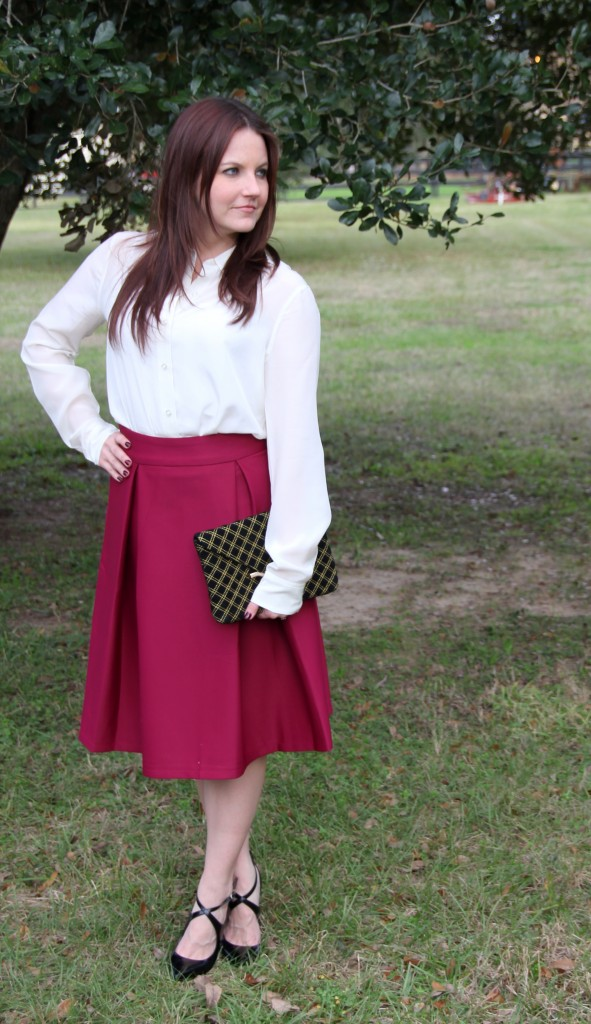 Cream Silk Blouse paired with a-line midi skirt