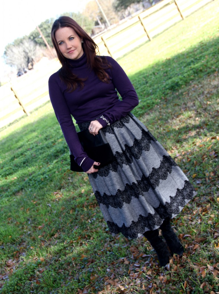 Violet turtleneck and Gray scalloped lace midi skirt with boots - winter office outfit inspiration