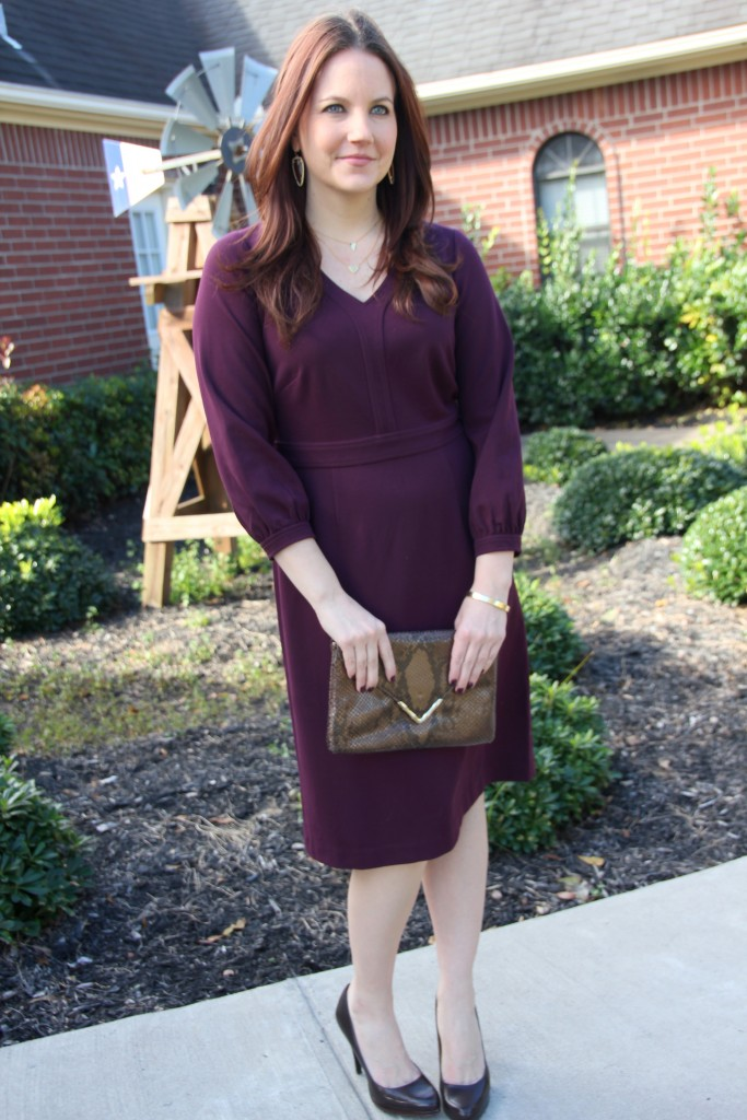 Office Style Outfit Idea - Dobbin Sylvie Dress with brown pumps and gold jewelry