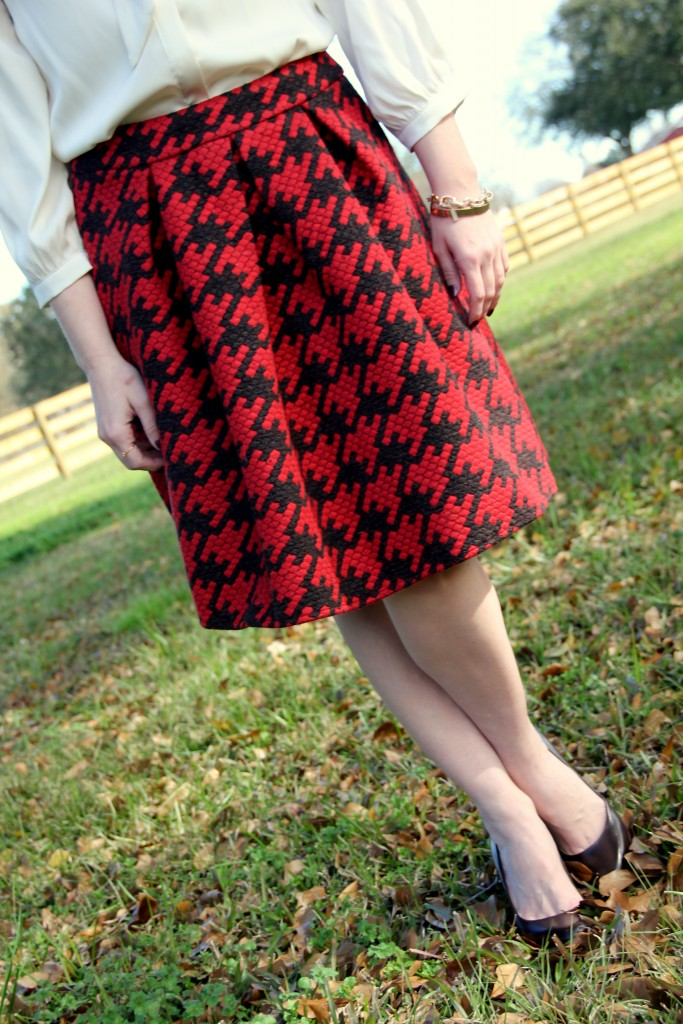 Chicwish Houndstooth Skirt, work style idea