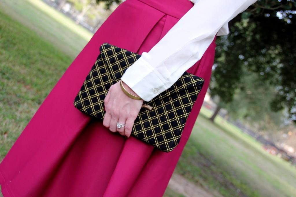 Chicwish aline skirt and elaine turner bella clutch