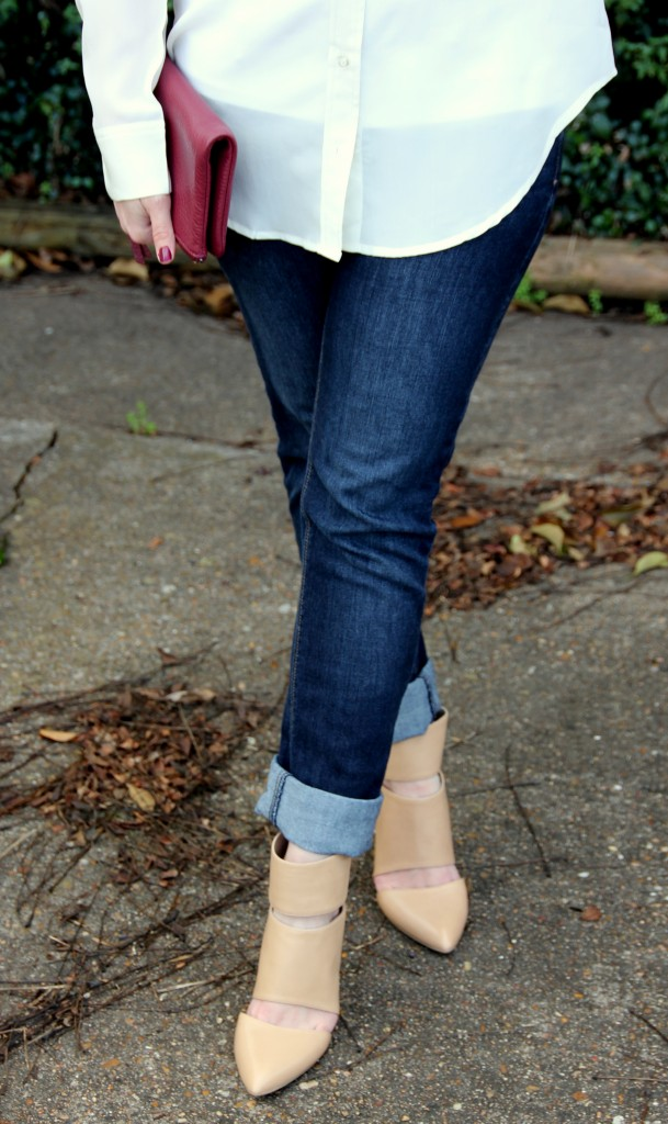 Skinny jeans with sole society nude heels, perfect pairing!!  love!