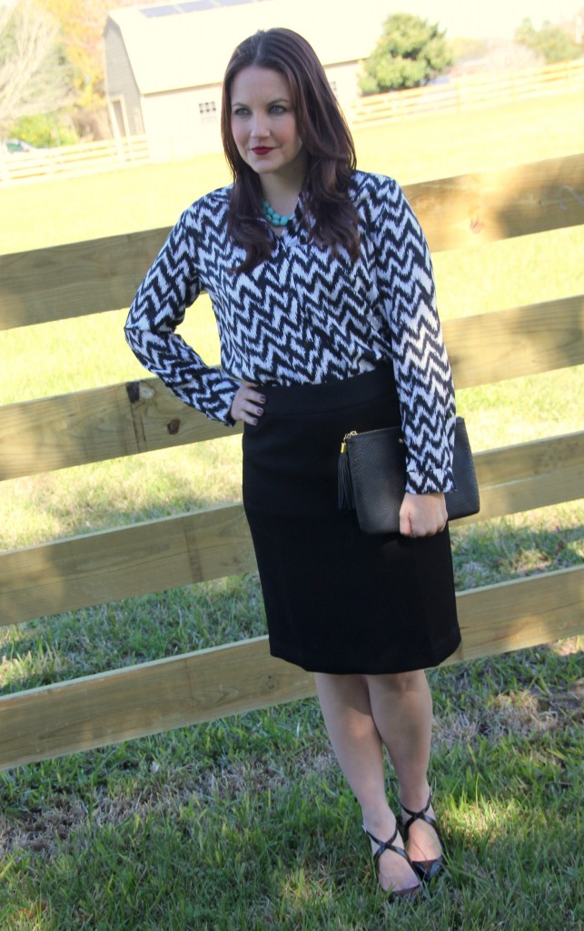 Office Outfit Idea - Pencil skirt and printed button down, perfect for work look