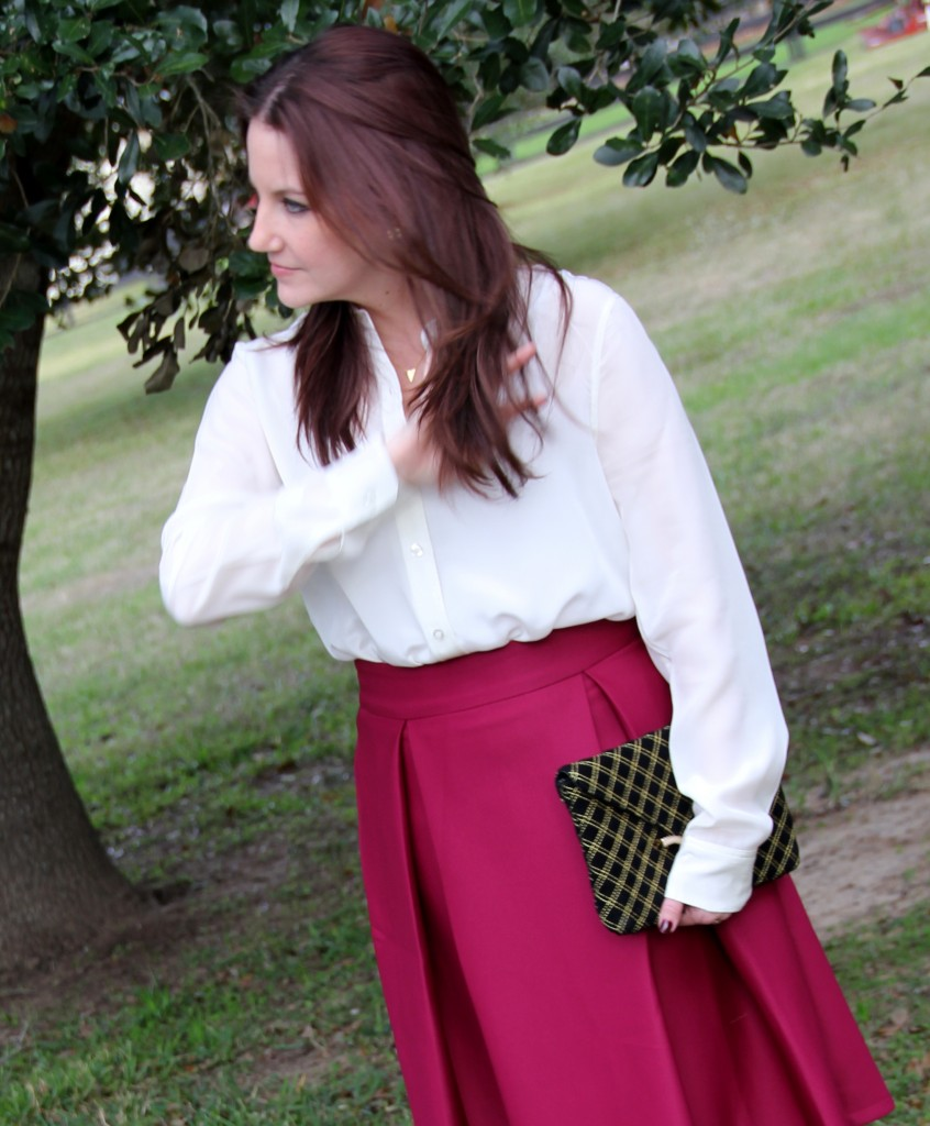 Cream Silk Blouse and violet a-line midi skirt