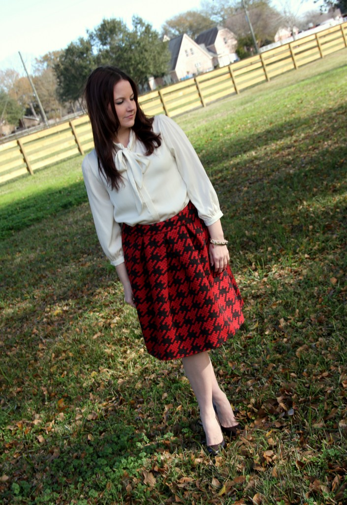 Houndstooth A-line skirt and bow tie blouse, perfect outfit for office style