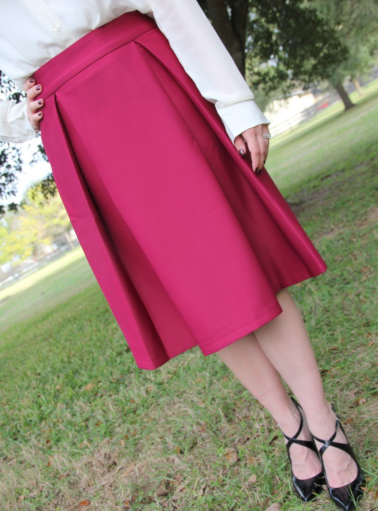 Chicwish A-Line Midi Skirt in Violet and Enzo angiolini pumps