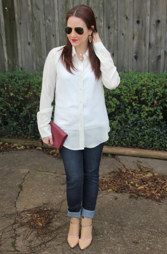 Brunch Outfit idea - Silk blouse with skinny jeans and nude heels