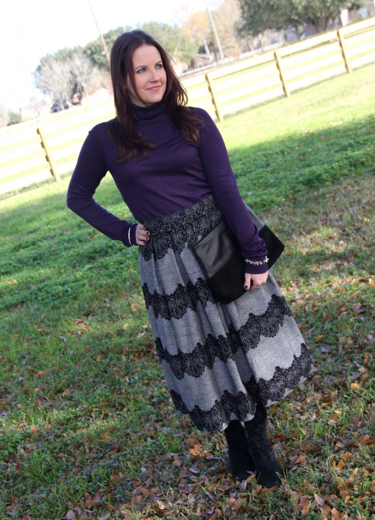 Violet Turtleneck and Gray full midi skirt with boots - office outfit idea for winter