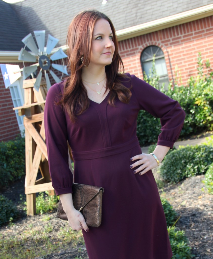 Dobbin Plum Dress with Blouson Sleeves, perfect for work!