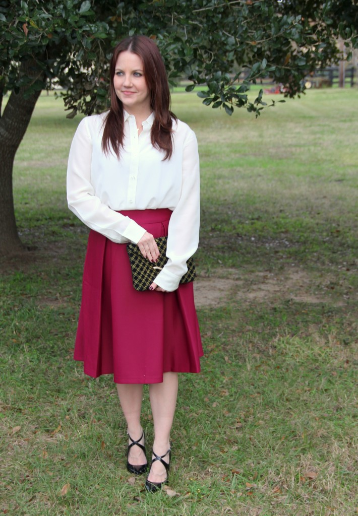 Cream Silk Blouse and full a-line skirt, office outfit idea