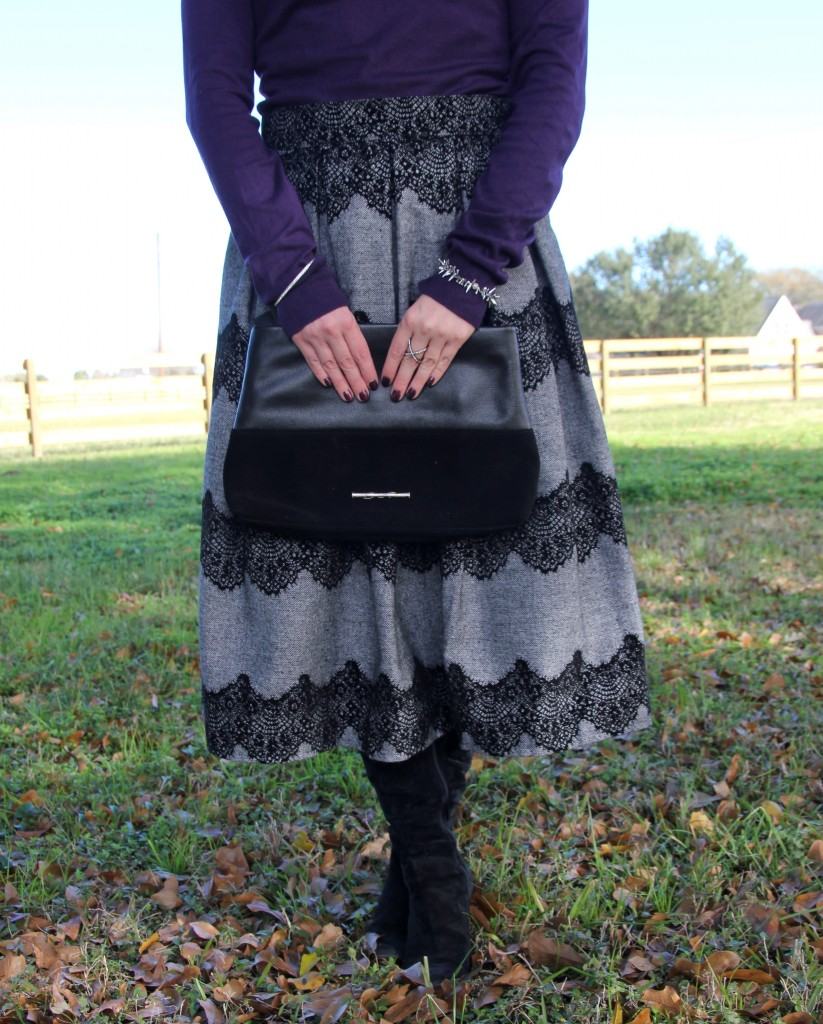 Chicwish lace midi skirt and elaine turner drew leather clutch, lady in violet blog